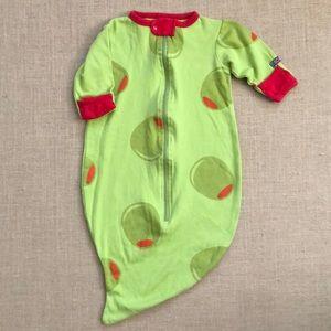 Sozo olive print zip up sleepsack gown